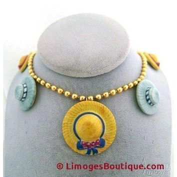 Hat Necklace: Yellow And Gray Limoges Box