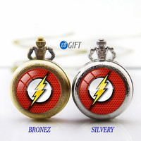 superhero jewelry The Flash pocket watch necklace Marvel Heroes necklace The Avengers best gift NO.131 = 1927994820