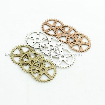Sweet Bell Three color Vintage Metal Alloy Steampunk Gears Jewelry Charm Jewelry Pendant Findings Free shipping 40pcs 25mm D0180