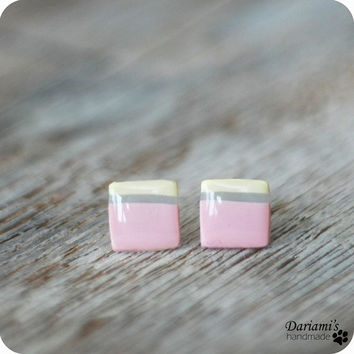 Post earrings - pastel squares stud earrings - handmade jewelry
