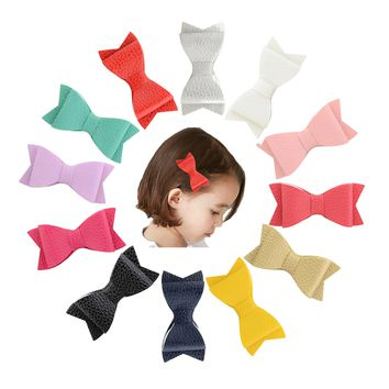 "12 Pcs/Lot Leather 3"" Solid Hair Bow with Alligator Clips for Baby Girl Toddlers Kids Infant Children Handmade Barrettes Hair Accessories"
