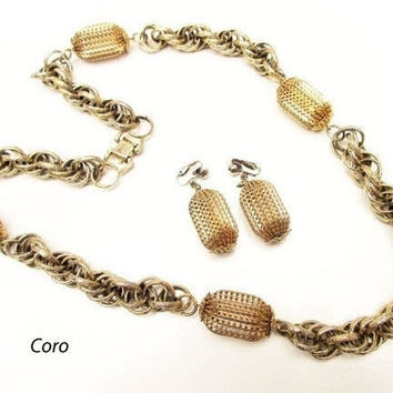 Gold Necklace earring set - Signed Coro Pegasus - Mid Century Modern  Chunky Goldtone Chain - clip on earrings