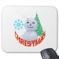 Christmas Tree And Snowman Mouse Pad