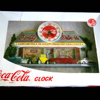 Coca Cola Wall Clock 3 D Burwood Retro Family Drive In Bar Man Cave Decor Original Box