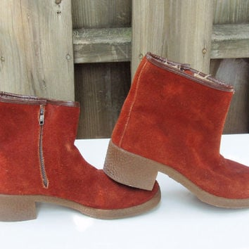 Vintage Boots, Rust Colored Suede with Thick Tan Rubber Sole, Lined, 1970s