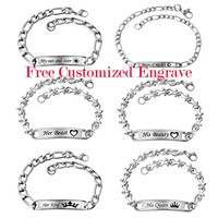LASPERAL 2PCs Stainless Steel Bracelets Carved Love Message Rectangle Charm Bracelets Jewelry For Couples Gifts Bracelet