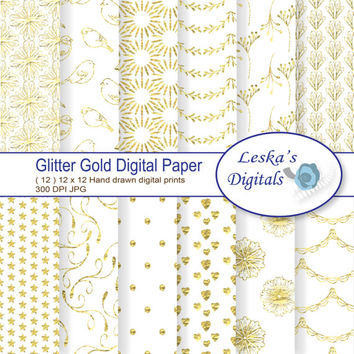 "Glitter Gold Digital Paper: ""GLITTER GOLD"" scrapbook paper pack, gold glitter texture, glitter sparkle digital papers, instant download"
