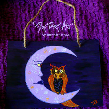 Folk Art / Primitive / Recycled / Cardboard Art - Original Painting - Owl - Moon - Classic Halloween - IntricateKnot