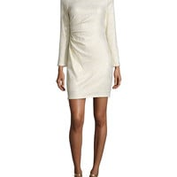 Long-Sleeve Ruched-Side Metallic Dress, Ivory/Gold, Size: