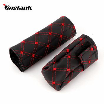 Vingtank 2pcs/1 Set Faux Leather Hand Brake Shift Knob Cover Gear Case Auto Car Interior Decor Leather Gear Shift Knob Cover