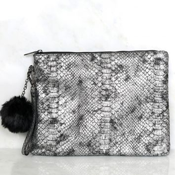 For Goodness Snakeskin Clutch Silver