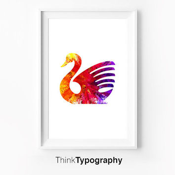 Swan Illustration Colorful Motivational Wall Decor Typography Poster Wall Inspirational Print Home Decor Winter Gift New Year Resolution