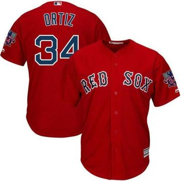 PEAPFS2 MLB Men's Boston Red Sox David Ortiz Baseball Red Alternate Cool Base Jersey with Retirement Patch