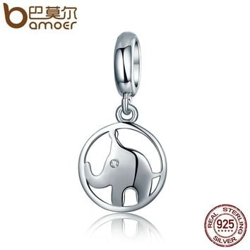 Genuine 925 Sterling Silver Sweet Elephant Pendant Charm fit Charm Bracelet & Bangles DIY Fine Jewelry Gift SCC156