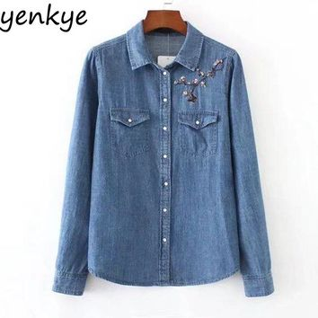 Blue Denim Shirt Women Blouses Collar Long Sleeve Pockets Casual Floral Embroidery Blouse Lady Shirts