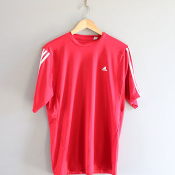 US Free Shipping Adidas T-shirt Adidas Red Tee Pullover Short Sleeves Activewear Loose-fit Vintage Minimalist 90s Size L #T113A