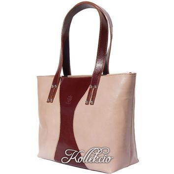 Large Taupe Italian Genuine Leather Handbag/Shoulder Bag