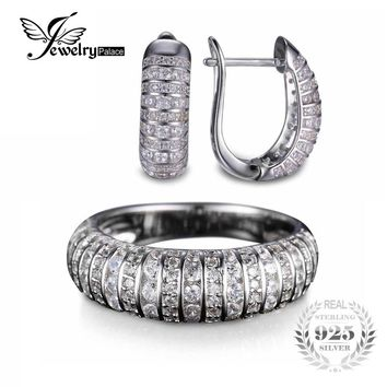 Jewelrypalace Classic Anniversary Stripe Stones Designed Ring Earring 925 Sterling Silver Jewelry Set 925 Fine Jewelry For Women