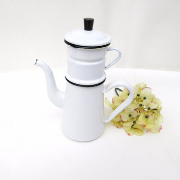 Enamelware Coffee Pot / Drip Coffee Pot / White Enamel French Coffee Pot – Manual Espresso Maker