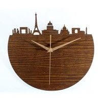 ZLYC 12 Inch Novelty European Style Paris Silhouette 3D Wood Tone Art Round Wall Clock Home Decor