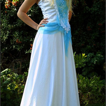 Medieval Fairy Off-white Turquoise Silk Satin Wedding Gown - Iphigenia