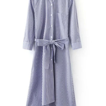 Blue White Stripe Buttons Front Tie-Waist Bow Shirt Dress | MakeMeChic.COM