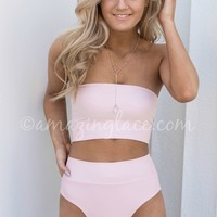 In Maui Pink High Waisted Bandeau Bikini