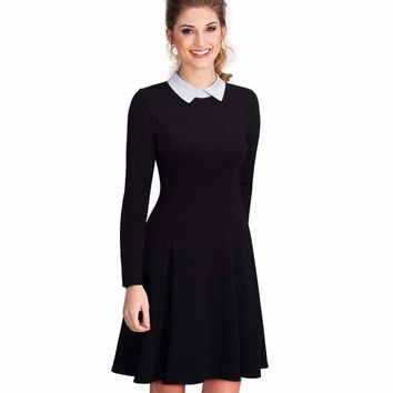 Office Business Pleated A-line Dress Classic Turn-down Collar Bl c7687d8a1973