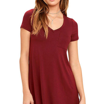 Burgundy Casual V Neck Pocket Short Sleeve T-Shirt Dress