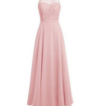 Hot Sale Blush Pink Long Bridesmaid Dresses Lace Bodice Chiffon Wedding Party Dresses O-Neck with Hollow Back vestido madrinha