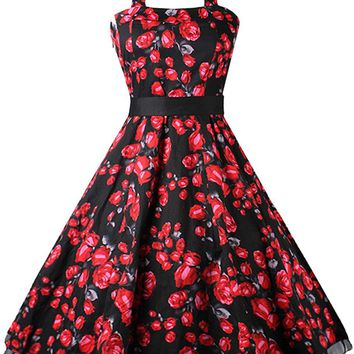 Casual Halter Floral Printed Charming Skater Dress