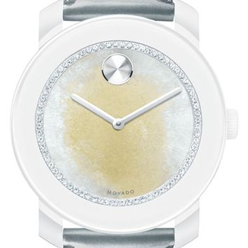 Women's Movado 'Bold' Crystal Dial Patent Strap Watch, 42mm