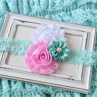 Aqua, pink and white shabby flowers on 1 inch aqua soft elastic headband. Head bands for baby girls, toddlers, girls and adults. Your Final Touch