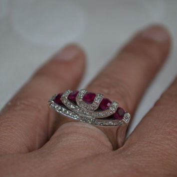 14K White Gold Ruby & Diamond Ring High Art Deco Style