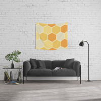 Yellow Honeycomb Wall Tapestry by spaceandlines