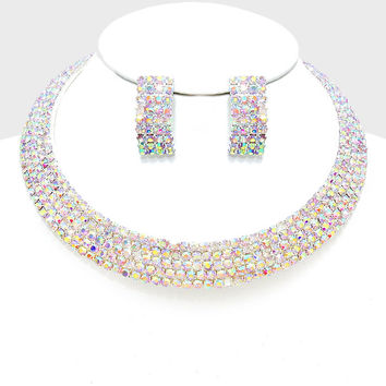 """15"""" ab crystal open cuff choker necklace 1.50"""" earrings prom bridal 5 row"""
