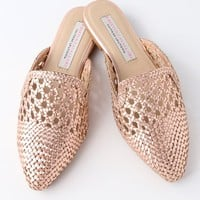 Camille Rose Gold Woven Leather Loafer Slides