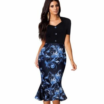 Womens Elegant Vintage Floral Flower Print Pinup Stretch Casual Party Bodycon Fitted Mermaid Dress EB376