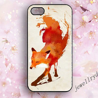 Fox iphone case,watercolor red fox iphone 4/4s case,Artist Designed iphone 5/5s case,abstract fox samsung galaxy s5 case,Personalized  style