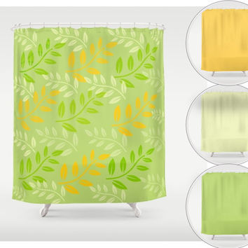 "Shower Curtain - 'Happy Days' - 71"" by 74"" Home, Decor, Bathroom, Bath, Dorm, Girl, Christmas, Gift, Colorful, Happy, Summer, Sage, Orange"
