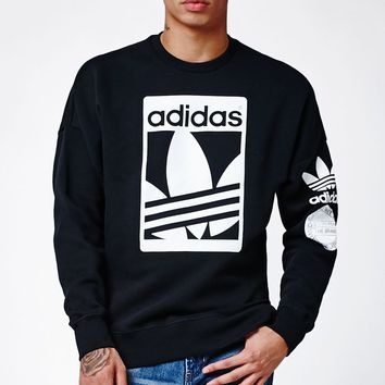 adidas Street Graphic Black Crew Neck Sweatshirt - Mens Hoodie - Black