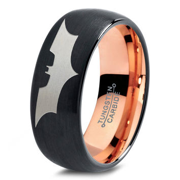 Batman Tungsten Wedding Band Ring Mens Womens Domed Brushed Black 18K Rose Gold Fanatic Geek Anniversary Engagement