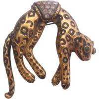Vintage Florenza Leopard Pin with Articulated Tail Pin-Brooch
