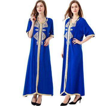 Women islamic clothing Maxi Long sleeve long Dress moroccan Kaftan Caftan embroidery dress abaya Muslim Robes gown HM-1449