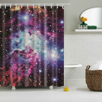 Cool Shining Stars Space Universe Customize Design Bath Waterproof Shower Curtain Bathroom Curtains