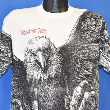 90s Wisconsin Dells Bald Eagle All Over Print t-shirt Large