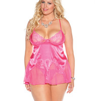 Charmeuse & Lace Chemise W-adjustable Straps & G-string Passion Pink 2x