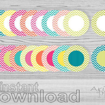 instant download, clip art set, chevron circles, round frames, summer colors, stickers, labels, smal bussines use