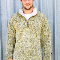 TRUE GRIT Frosty Tipped 1/4 Zip Pullover- Green