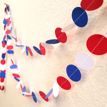 Red, White and Blue Sewn Paper Garland, 10 FT, 4th Of July Garland, Patriotic, Wedding Decoration, Baby Shower, Bridal Shower, Birthday